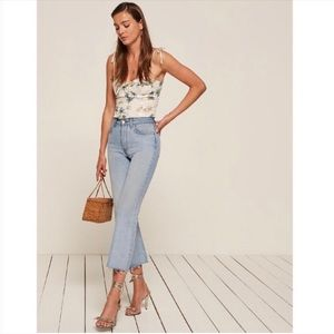 Reformation Mid-Rise Crop Flare Jeans in Sky
